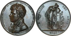 O5803 Medal Achille-E Michallon Peintre Hommage Amis 1823 Tiolier desnoyers SUP