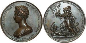 O5808 Rare Medaille duchesse Berry Henri V 1821 Baron desnoyers SPL