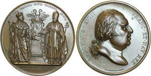 O5824 Rare Medaille Louis XVIII reprise concordat 1516 1817 Baron desnoyers SPL