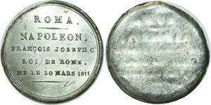 O5946 Rare Medaille Uniface Napoleon I Roi Rome 1811 Baron desnoyers SPL