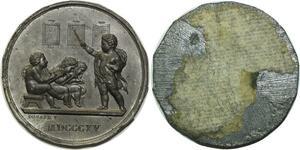 O5964 Rare Medaille Uniface Napoleon Ecole Elémentaire desnoyers SUP