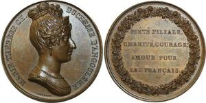 O5985 Rare Medaille Marie-Thérèse duchesse Angoulème Baron desnoyers SUP