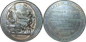 Q0375 Constitution Monneron 5 sols An IV 1792 Var départements désaxée SPL