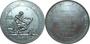 Q0379 Constitution 5 Sols Monneron Hercule 1792 An IV tr A Flan Bruni Proof UNC