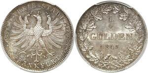 Q0410 Rare Germany Frankfurt Frei Stadt 1/2 Gulden 1847 PCGS MS63