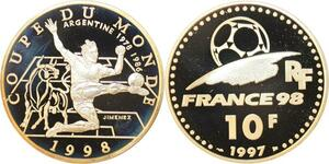 Q0452 France 10 Francs World Cup Football 1998 Argentina Silver BE Proof