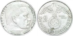 Q0473 Germany Deutsche Reich 2 Reichsmark Hinbenburg 1937 A Silver > M Offer