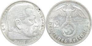Q0476 Germany Deutsche Reich 2 Reichsmark Hinbenburg 1938 G Silver > M Offer