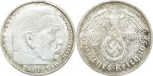 Q0489 Germany Deutsche Reich 2 Reichsmark Hinbenburg 1938 B Silver > M Offer