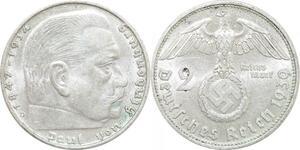Q0496 Germany Bayern 2 Reichsmark Hinbenburg 1939 D Silver AU > Offer