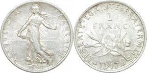 Q0581 France 1 Franc Semeuse 1917 Argent Silver SUP > Make Offer