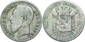 Q0600 Belgium 1 Franc Leopold II 1887 Der Belgen Silver > Make Offer
