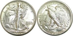 Q0623 USA 50 Cents Walking Liberty Half Dollar 1936 Denver Silver UNC