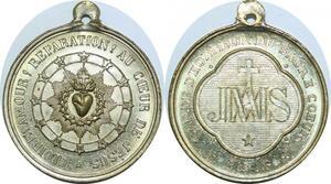 Q6001 Rare Médaille Vatican Pie IX Garde Honneur Sacrée Coeur Jesus SUP