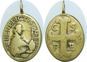 Q6024 Rare Medal Vatican Papal Saint Benoît Croix C S P B Benedictvs Abba