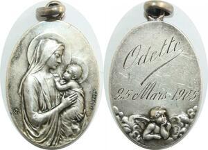 Q6068 Medal France Vierge Marie Odette Dropsy 1905 Silver AU -> Make offer
