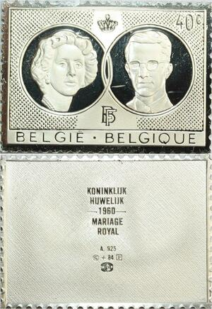R0034 Belgium Timbre Monnaie 40 Centimes Mariage Royal Baudoin 1960 Silver
