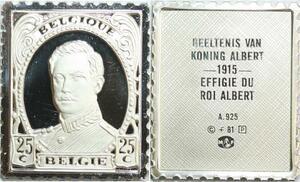 R0046 Belgium Timbre Monnaie 25 Centimes Roi Albert 1915 Silver Proof