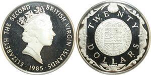 R0074 Virgin Islands 20 Dollars Elizabeth II Dubloon d'or Silver Proof