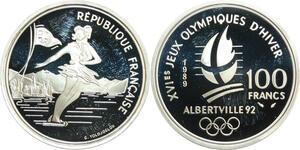 R0081 France 100 Francs Albertville 92 Patinage artistique 1990 Silver
