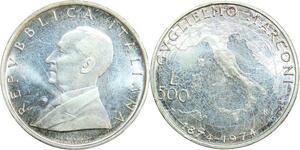 R0139 Italy 500 Lire Guglielmo Marconi 1974 Silver UNC GEM ->Make offer