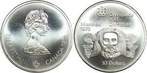 R0148 Canada Olympics Games 10 $ Dollars Montréal Zeus 1974 Silver UNC