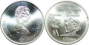 R0150 Canada Olympics Games 5 $ Dollars Montréal Flamme 1974 Silver UNC