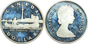 R0186 Canada Dollar Queen Elizabeth II 100 ansToronto 1834 1934 Silver Proof