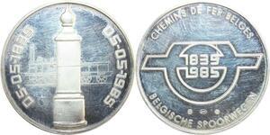 R0236 Médaille Belgique 150 ans Chemins de fer belges 1835-1985 Silver