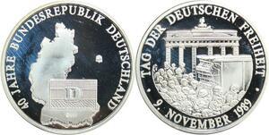 R0253 Medal Germany Chute Mur Berlin 9 novembre 1989 BRD RFA 999% Silver