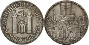 R0263 Medal Germany 800 years Thaler Munich Silver 1158 1958 Silver UNC