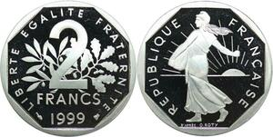 R0322 France 2 Francs Semeuse Roty 1999 Sortie Coffret BE Proof