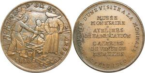 R0350 Médaille Souvenir Visite Monnaie Paris Atelier Monétaire1960 SUP