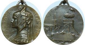 R0354 Médaille Alsace Alsacienne Prudhomme 1870-1914 Cigogne SUP - Offer