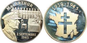 R0388 Médaille Victoire Capitulation Japon Général Mac Arthur 1945 Proof