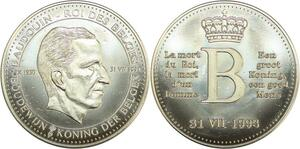 R0416 Belgique Médaille Mort Roi des Belges Baudoin 1993 UNC - Make Offer