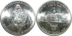 R0476 USA 1/2 Dollar George Washington 250 th years Birth 1982 Silver UNC