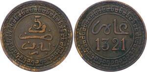 O2689 Morocco 5 Mazunas Abd al-Aziz 1321/1903 Y#16.3 Paris ->Make offer