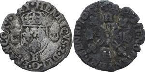 O2792 Rare Douzain Henri II Croissants 1550 B Rouen ->Make offer