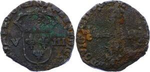 O2802 Faux Epoque Louis XIV huitième 1/8 écu cRoix face Argent bas titre