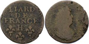 O2821 Rare Liard de France Louis XIV 1696 H La Rochelle ->Make offer