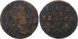 O2824 Rare Liard de France Louis XIV 1715 W Lille ->Make offer