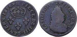 O2831 4 deniers Louis XIV légende latine 1696 BB Strasbourg ->Make offer
