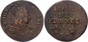 O2845 Fautée Décentrée Liard de France Louis XIV 1656 A Corbeil TTB !!!!