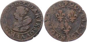 O2863 Rare R2  Dombes Marie Montpensier double tournois 5e 1623 Trévoux