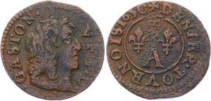 O2877 Dombes Gaston d'Orléans denier tournois 10e type 1650 Trévoux