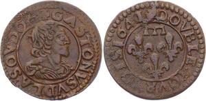 O2880 Rare !! Dombes Gaston d'Orléans double tournois 1641/0 Trévoux SUP