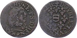 O2884 Rare Maximilien III Francois Bethune Double tournois 1642 Henrichemont