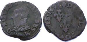 O2888 Rare R2 Dombes Henri Bourbon-Montpensier double tournois 1594 Trévoux