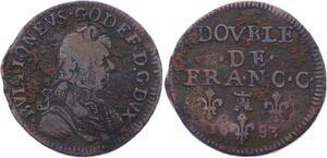O2895 Bouillon Godefroy Maurice de La Tour liard 7e type 1683 Sedan